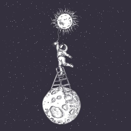 An astronaut lights a light bulb while standing on a stepladder. Cosmic illustration. The energy of the sun. Energy saving.  イラスト・ベクター素材