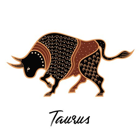 Zodiac sign Taurus. The symbol of the astrological horoscope. Silhouette of a lion.