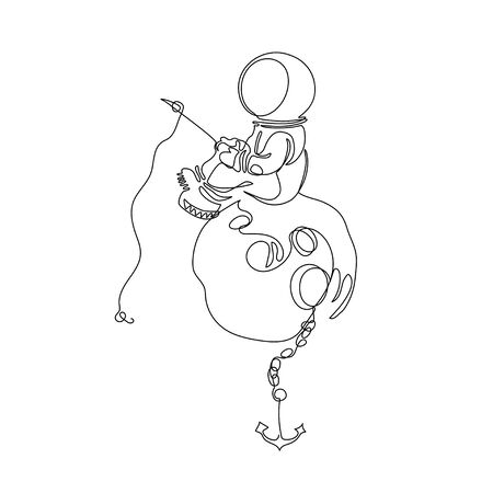 Astronaut with a fishing rod sitting on the moon. Astronomy. One line drawing. Continuous line. Minimalistic graphics. Vectores