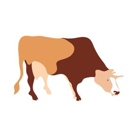 Cow silhouette made of multi-colored segments. Farm illustration. Vectores