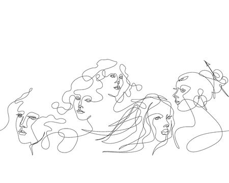 Pattern with female faces. Female face drawn in one line.
