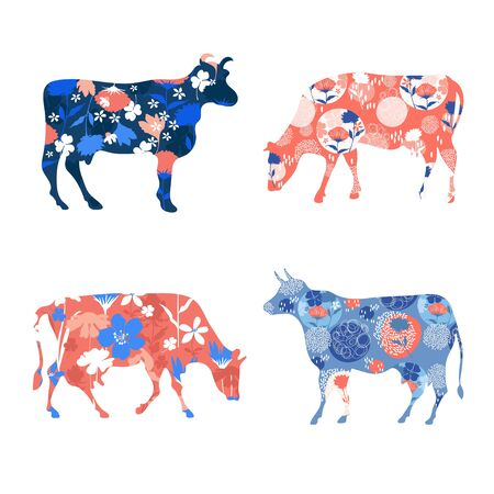 Floral silhouettes of cows. Vector illustration. Farm animals. Agriculture.