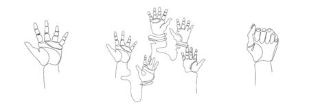 Different positions of the hands. Continuous line. A set of images. Minimalistic graphics.