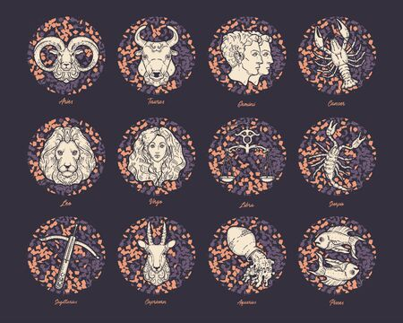 Vector set of zodiac signs. Zodiac constellations. Astrological horoscope.