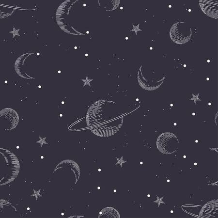 Seamless space pattern. Planets and stars. Engraving.