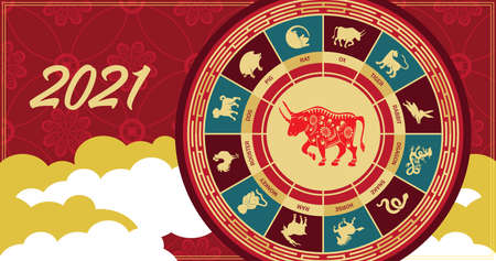 Vector image of a bull. The symbol of 2021. Bull and other animals of the eastern horoscope. Ilustracja