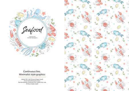 Lobster, fish, crab, shrimp, octopus, squid. Seafood. Restaurant menu. One line drawing. Continuous line Circular composition. Sample brochure Background for covers flyers banners Illusztráció