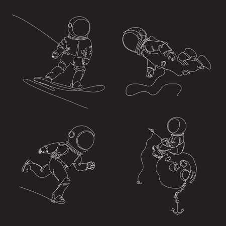 Astronauts are drawn in one line. Continuous line. Astronaut is sitting on the moon. Cosmonaut is snowboarding. Set of space illusions.