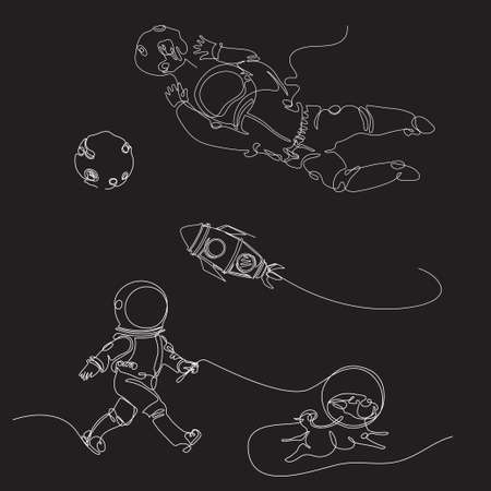 Astronauts are drawn in one line. Continuous line. Set of space illusions. The astronaut catches the ball. The astronaut is walking with the dog.