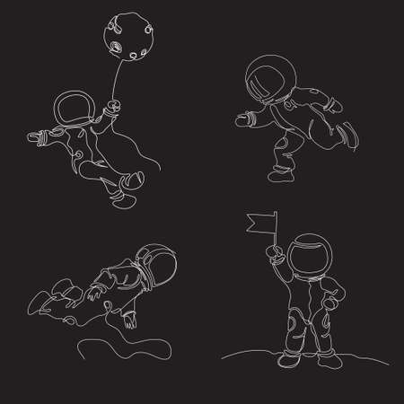 Astronauts are drawn in one line. Continuous line. Astronauts fly in space. Cosmonaut with a flag. Set of space illusions