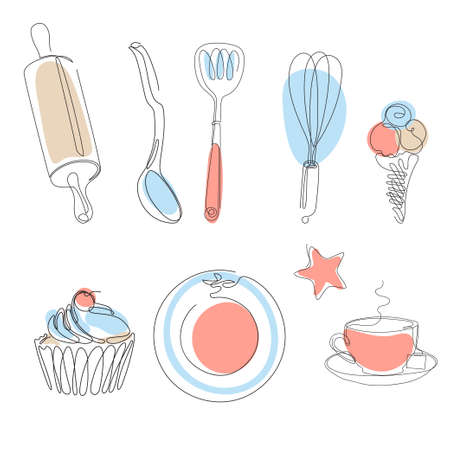 Set of kitchen utensils. Cupcake and ice cream. Continuous line.