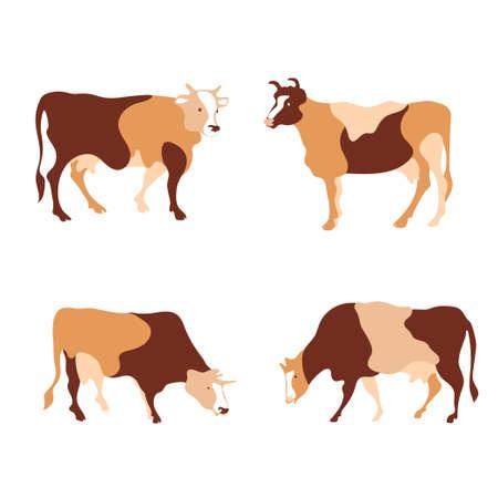 Cow silhouette made of multi-colored segments. Farm illustration.