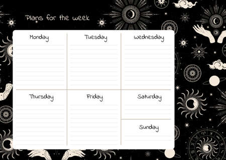 Weekly planner template. Magical hands. Two hands, the sun, crescent, stars and moon phases. 向量圖像