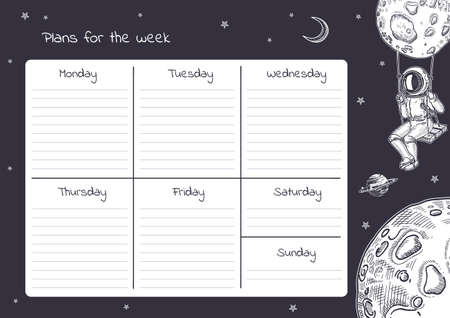 Weekly planner template. Astronauts, stars and planets. 向量圖像