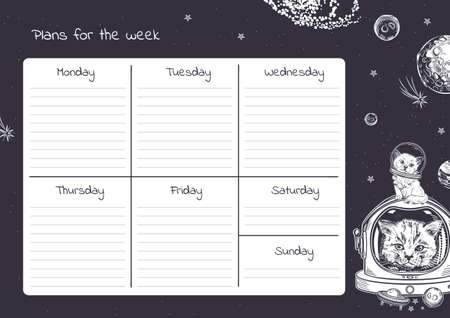 Weekly planner template. Funny cats astronauts. Animals in space.
