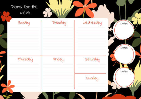 Weekly planner template. Bright flowers on a dark background. Ilustracja