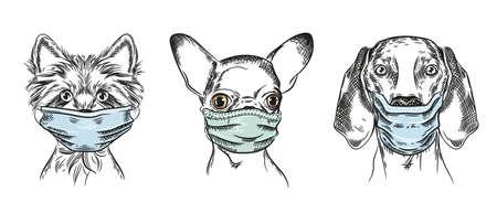 Dogs in medical masks. Set of vector illustrations. 矢量图像