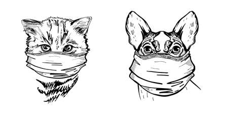 Dog and cat in medical masks. Set of vector illustrations. Pandemic. COVID-19. Ilustração