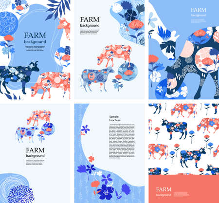 Agricultural background. Cows in the pasture. Silhouettes of cows and flowers.