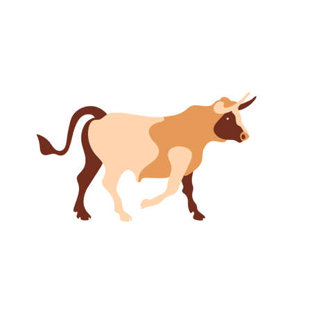 Vector image of a bull. Multi-colored segments. Farm illustration.