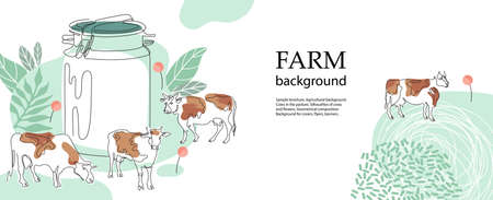 Horizontal agricultural background. Silhouettes of cows and flowers.