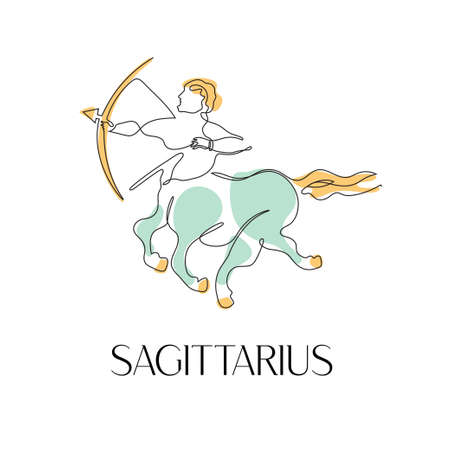 Zodiac sign Sagittarius. One line. Vector illustration in the style of minimalism.