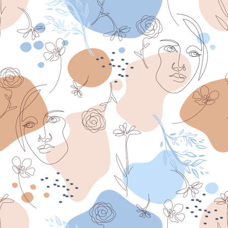 Seamless pattern with female faces. Female face drawn in one line.