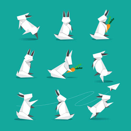 cute origami white rabbit