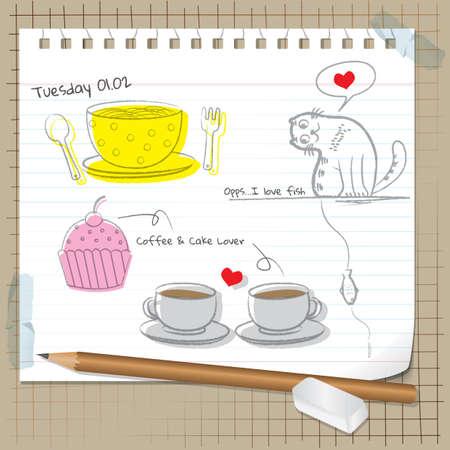 Sketches Agenda avec crayon et une gomme
