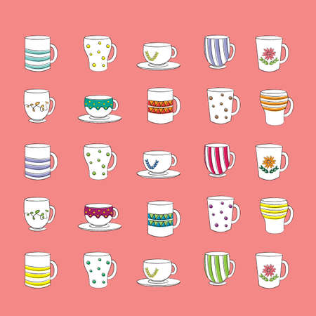 Cup with different design and pattern for party Vector