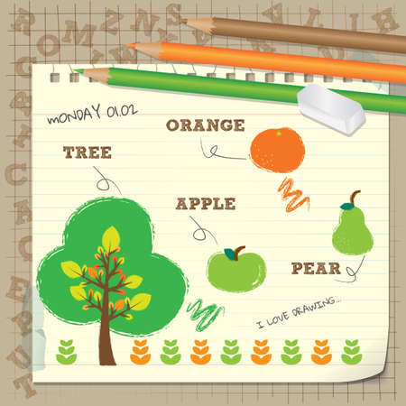 color pencil drawing diary sketchbook Vector