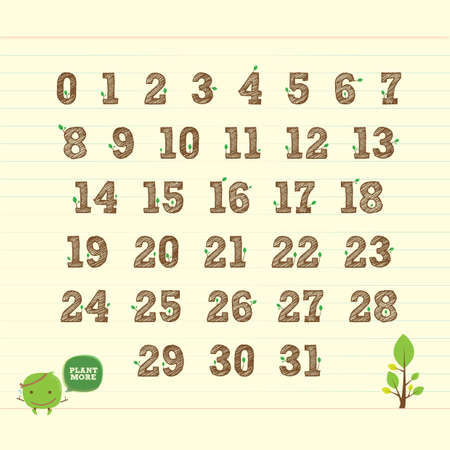 handwritten number 123 with leaf Vector