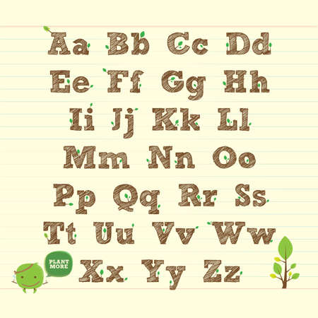 handwritten ABC alphabet with leaf