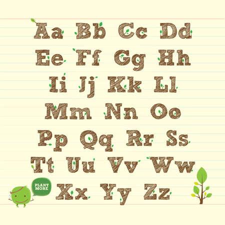 go green: handwritten ABC alphabet with leaf