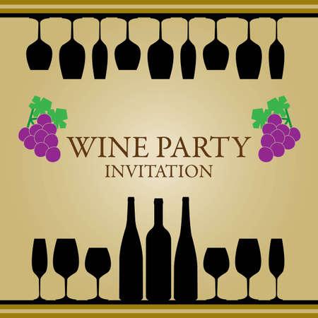 weingläser: Wein-Partei-Einladung