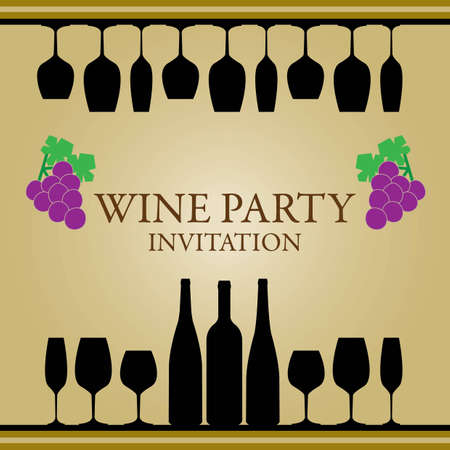 wine party invitation Vector