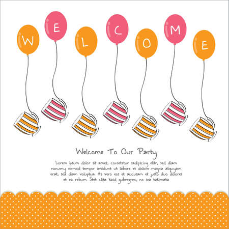warm welcome: cute tea party invitation card with balloon
