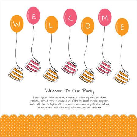 tarde de cafe: linda fiesta del té de tarjeta de invitación con el balón Vectores