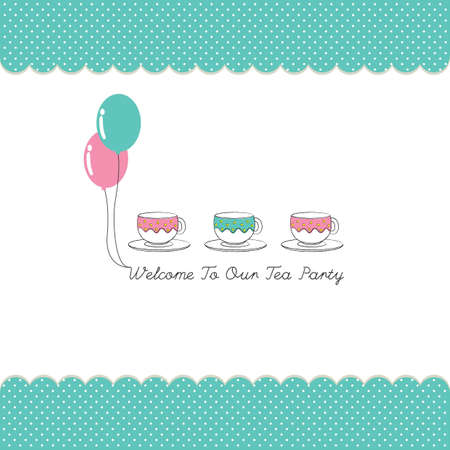 teacups: cute tea party invitation card with polka dots Illustration