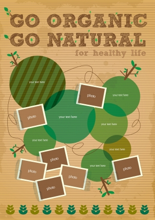 biodegradable: go organic and go natural poster design