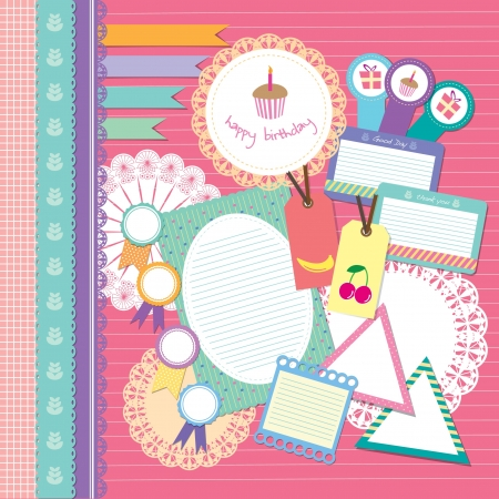 cute happy birthday scrapbook element set Vector
