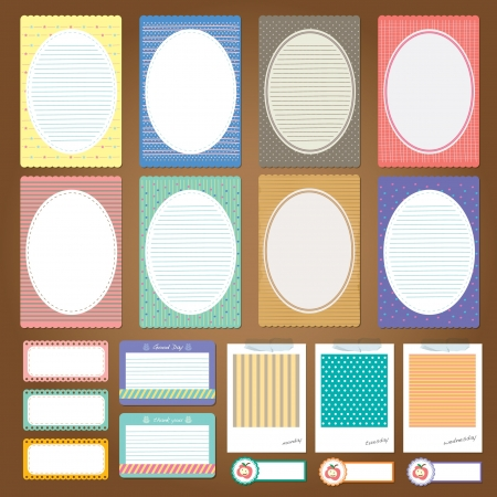 different note paper design set - scrapbook elements Vector