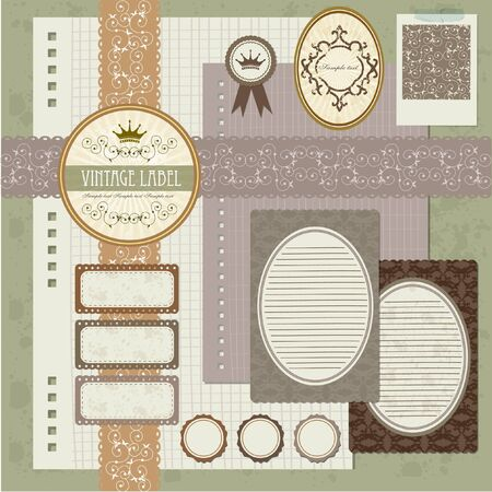 vintage scrapbook element - my vintage letter set Illustration
