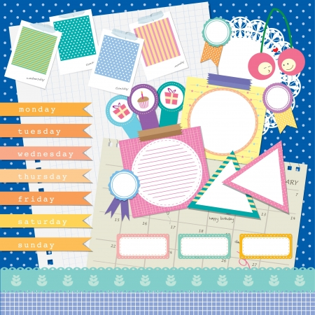 Blue polka dot background scrapbook element design