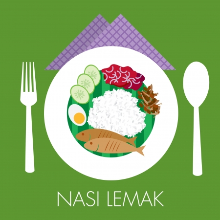 Malay traditional coconut milk rice nasi lemak with sambal peanut cucumber egg and fish Vector