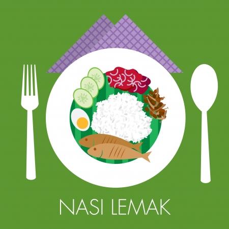Maleis traditionele kokosmelk rijst nasi lemak met sambal pinda komkommer ei en vis Vector Illustratie