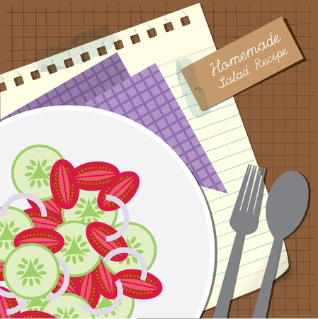 cucumber salad: Brown salad recipe or menu cover with tomato onion and cucumber