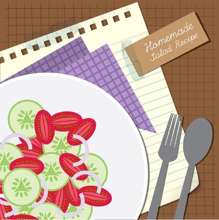 cucumber salad: Receta de ensalada de Brown o la tapa de men� con cebolla tomate y pepino Vectores