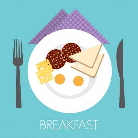 single big breakfast with double egg Illustration