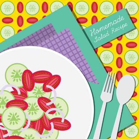 Salad recipe or menu cover with tomato onion and cucumber Illustration